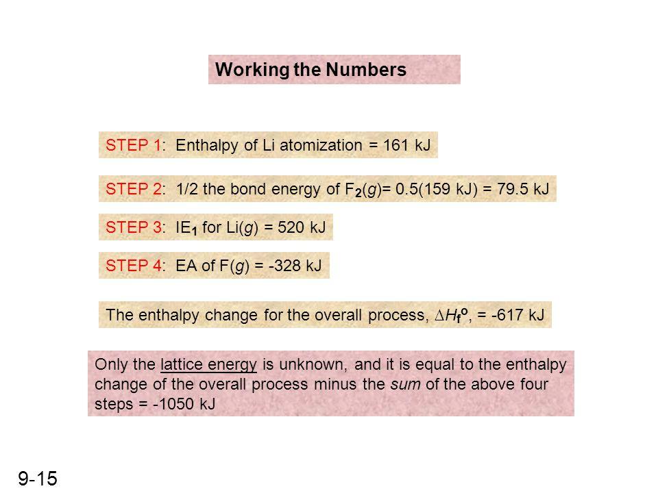 9-15 Working the Numbers STEP 1: Enthalpy of Li atomization = 161 kJ STEP 2: 1/2 the bond energy of F 2 (g)= 0.5(159 kJ) = 79.5 kJ STEP 3: IE 1 for Li