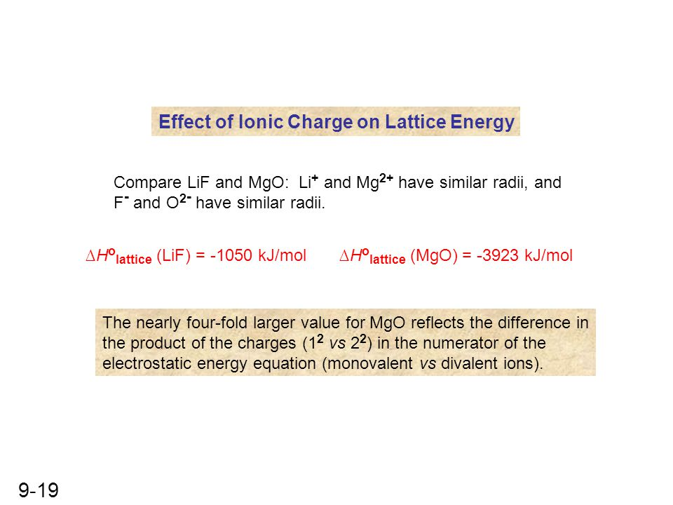 9-19 Effect of Ionic Charge on Lattice Energy Compare LiF and MgO: Li + and Mg 2+ have similar radii, and F - and O 2 - have similar radii. ∆H o latti