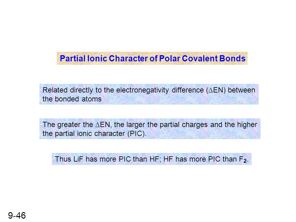 9-46 Partial Ionic Character of Polar Covalent Bonds Related directly to the electronegativity difference (∆EN) between the bonded atoms The greater t