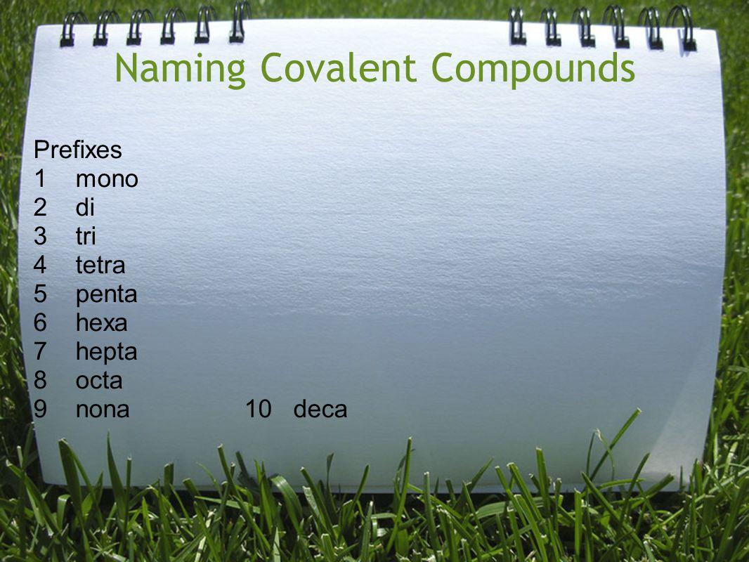 Naming Covalent Compounds Prefixes 1 mono 2 di 3 tri 4 tetra 5 penta 6 hexa 7 hepta 8 octa 9 nona 10 deca
