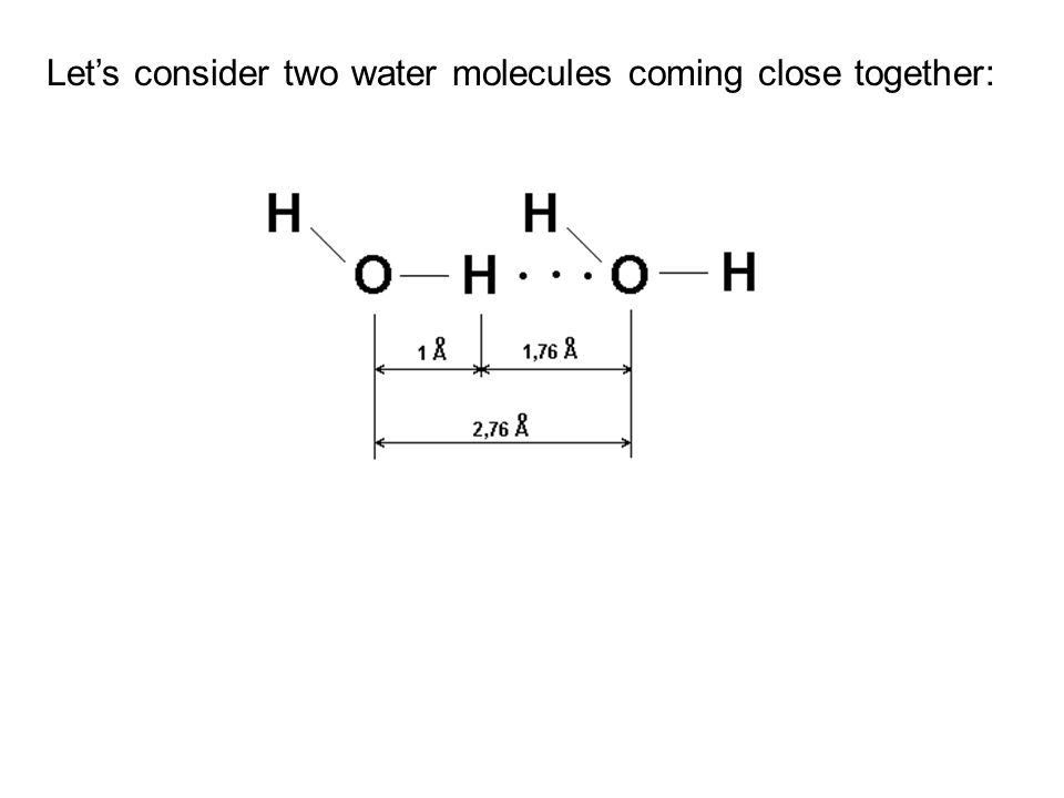 Let's consider two water molecules coming close together: