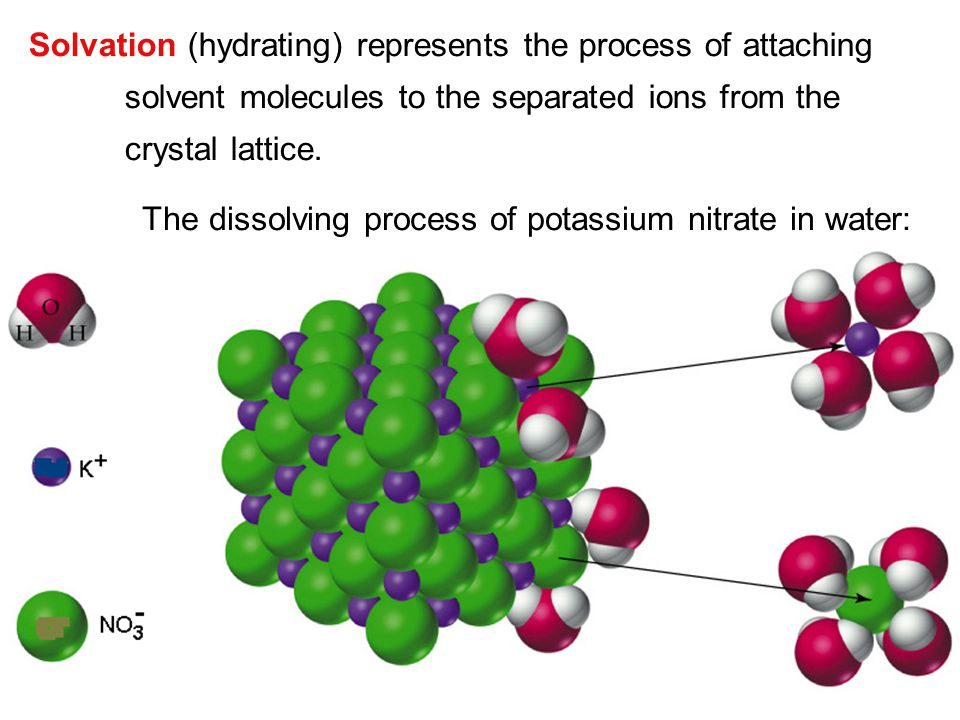 The dissolving process of potassium nitrate in water: Solvation (hydrating) represents the process of attaching solvent molecules to the separated ion