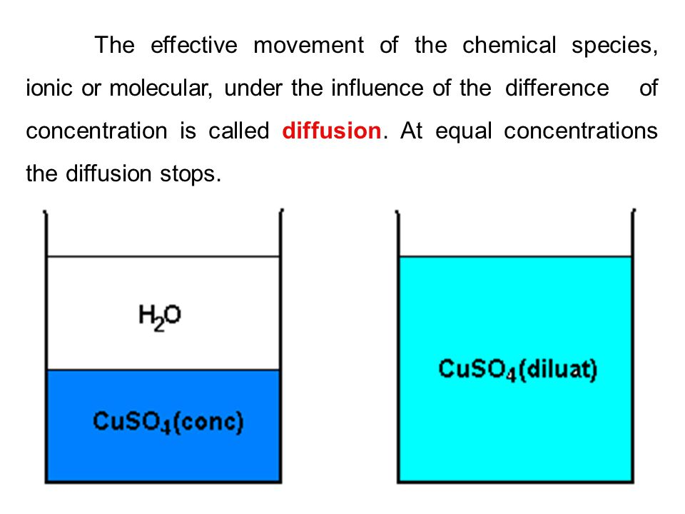 The effective movement of the chemical species, ionic or molecular, under the influence of the difference of concentration is called diffusion. At equ