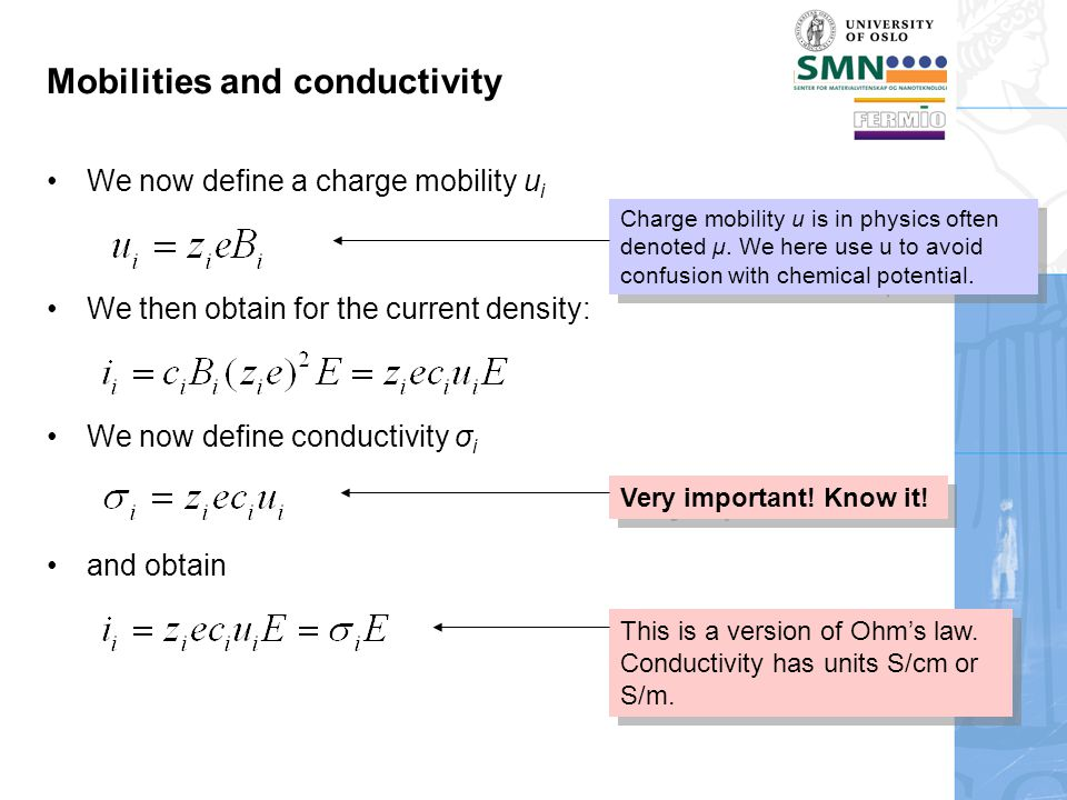 Partial and total conductivity; transport numbers Total conductivity is the sum of the partial conductivities The transport number is Partial conductivities typically comprise cations, anions, electrons, holes: Each ionic conductivity may have contributions from more than one defect mechanism.