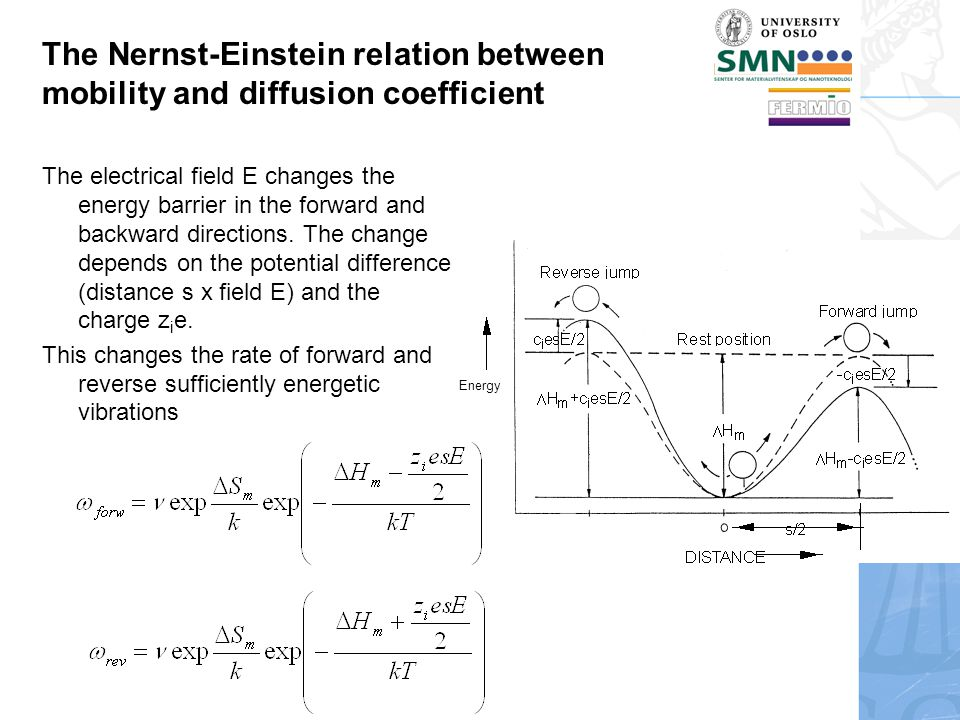 Energy The Nernst-Einstein relation between mobility and diffusion coefficient The electrical field E changes the energy barrier in the forward and backward directions.