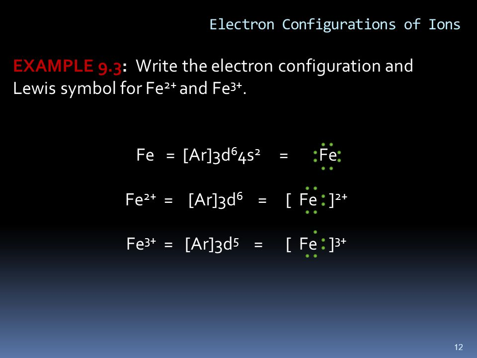 12 Electron Configurations of Ions EXAMPLE 9.3: Write the electron configuration and Lewis symbol for Fe 2+ and Fe 3+.