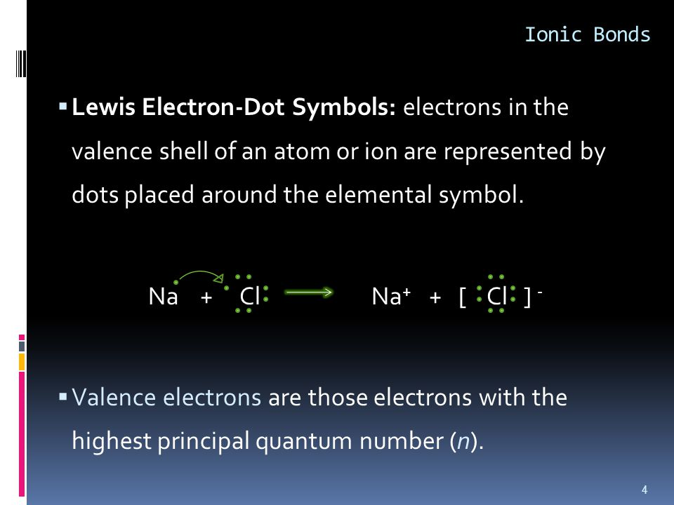  Lewis Electron-Dot Symbols: electrons in the valence shell of an atom or ion are represented by dots placed around the elemental symbol.