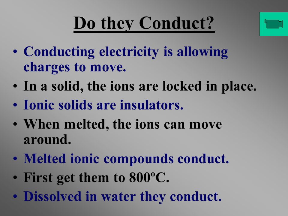 Do they Conduct? Conducting electricity is allowing charges to move. In a solid, the ions are locked in place. Ionic solids are insulators. When melte