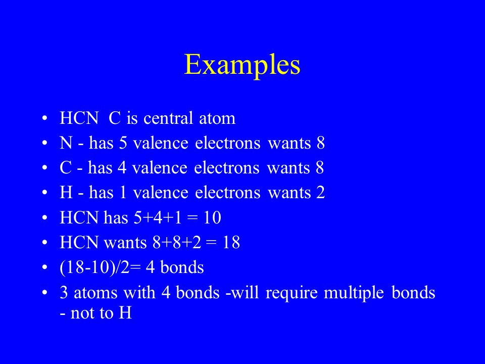 Examples HCN C is central atom N - has 5 valence electrons wants 8 C - has 4 valence electrons wants 8 H - has 1 valence electrons wants 2 HCN has 5+4