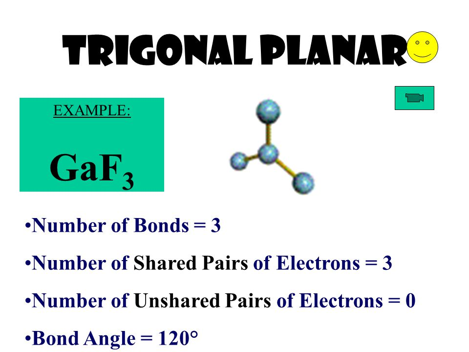 Trigonal Planar Number of Bonds = 3 Number of Shared Pairs of Electrons = 3 Number of Unshared Pairs of Electrons = 0 Bond Angle = 120° EXAMPLE: GaF 3
