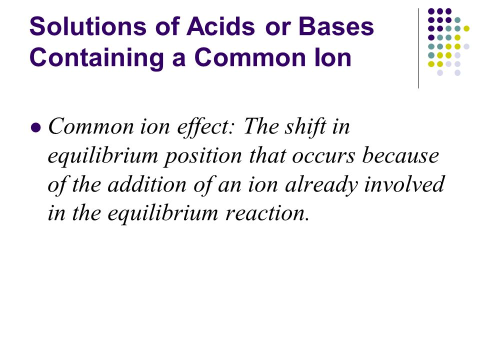 Solutions of Acids or Bases Containing a Common Ion Common ion effect: The shift in equilibrium position that occurs because of the addition of an ion already involved in the equilibrium reaction.