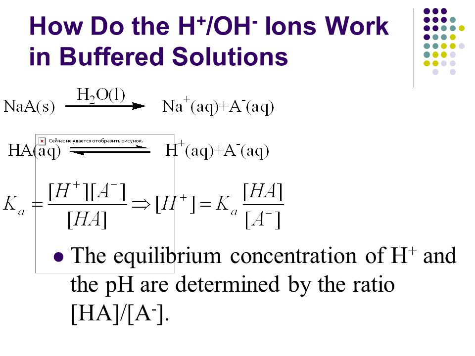 How Do the H + /OH - Ions Work in Buffered Solutions The equilibrium concentration of H + and the pH are determined by the ratio [HA]/[A - ].
