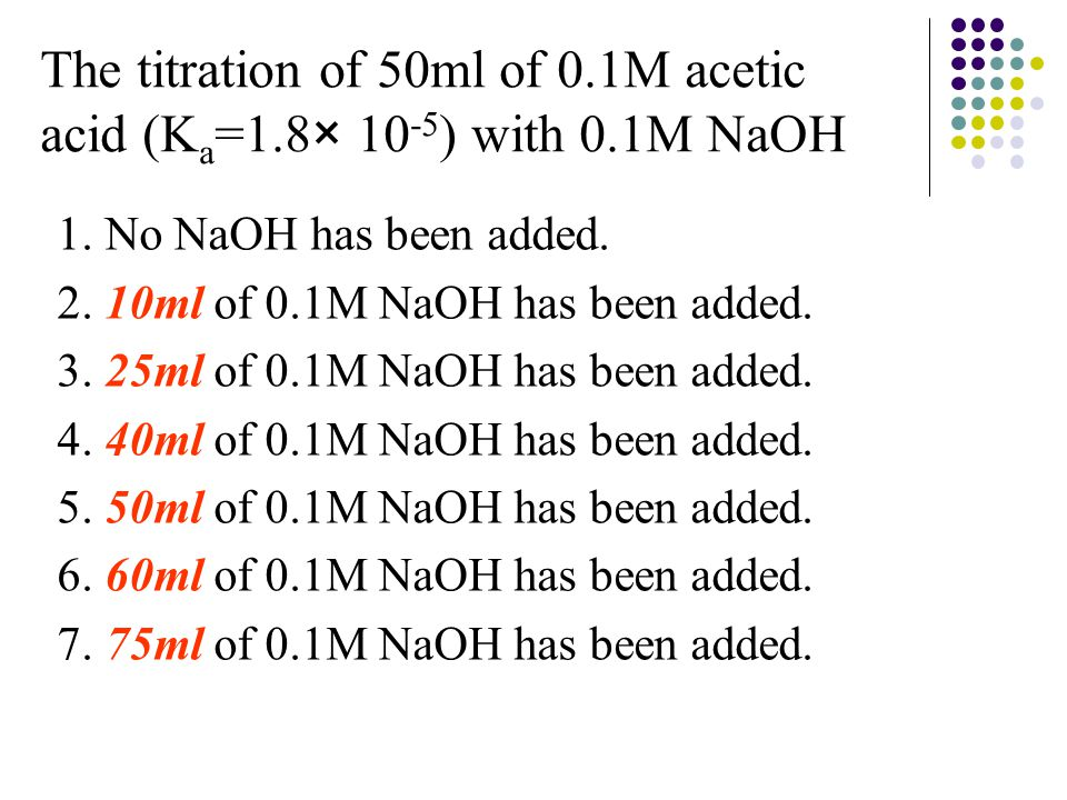 1.No NaOH has been added. 2. 10ml of 0.1M NaOH has been added.