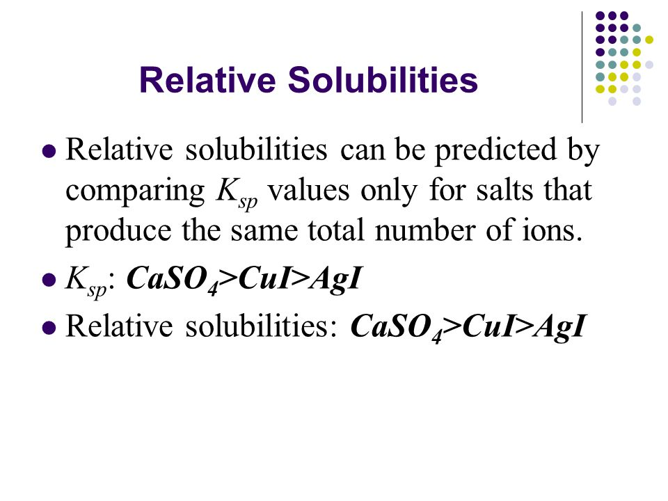 Relative Solubilities Relative solubilities can be predicted by comparing K sp values only for salts that produce the same total number of ions.