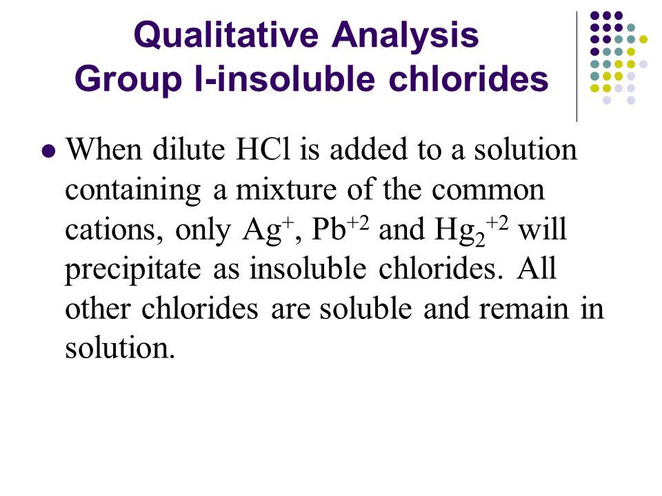 Qualitative Analysis Group I-insoluble chlorides When dilute HCl is added to a solution containing a mixture of the common cations, only Ag +, Pb +2 and Hg 2 +2 will precipitate as insoluble chlorides.