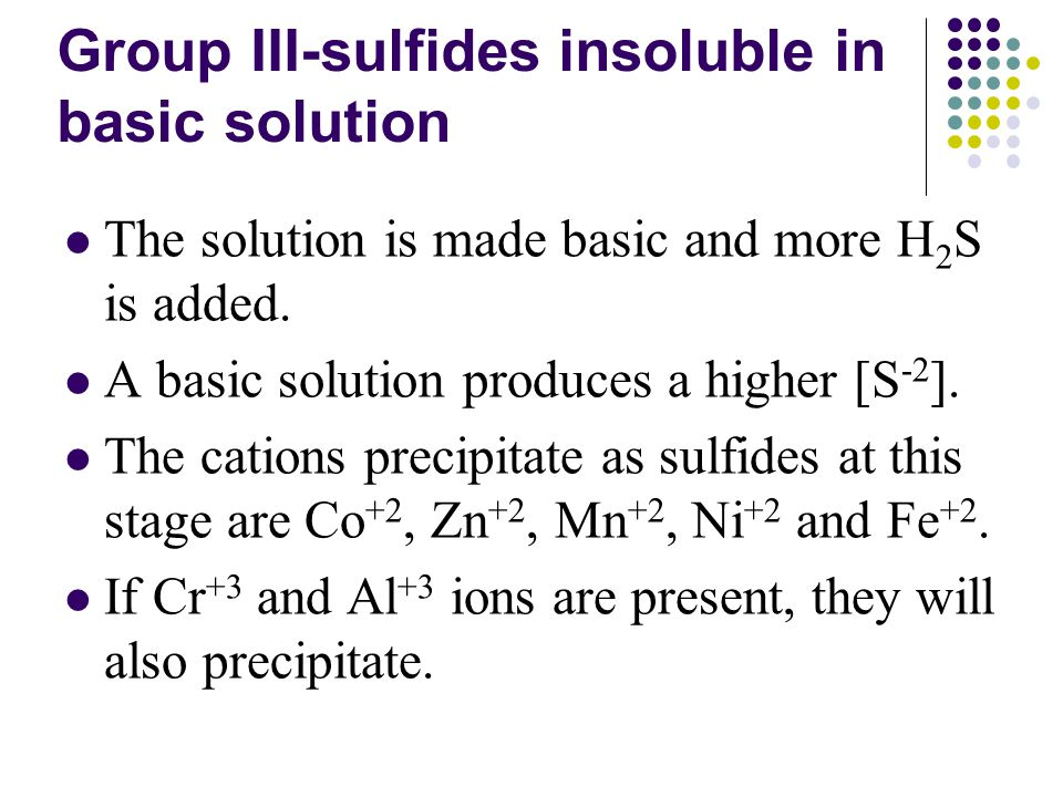 Group III-sulfides insoluble in basic solution The solution is made basic and more H 2 S is added.