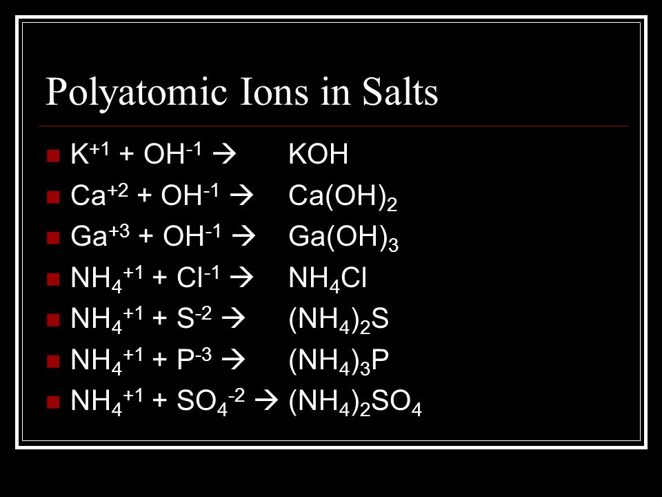Polyatomic Ions in Salts K +1 + OH -1  Ca +2 + OH -1  Ga +3 + OH -1  NH 4 +1 + Cl -1  NH 4 +1 + S -2  NH 4 +1 + P -3  NH 4 +1 + SO 4 -2  KOH Ca