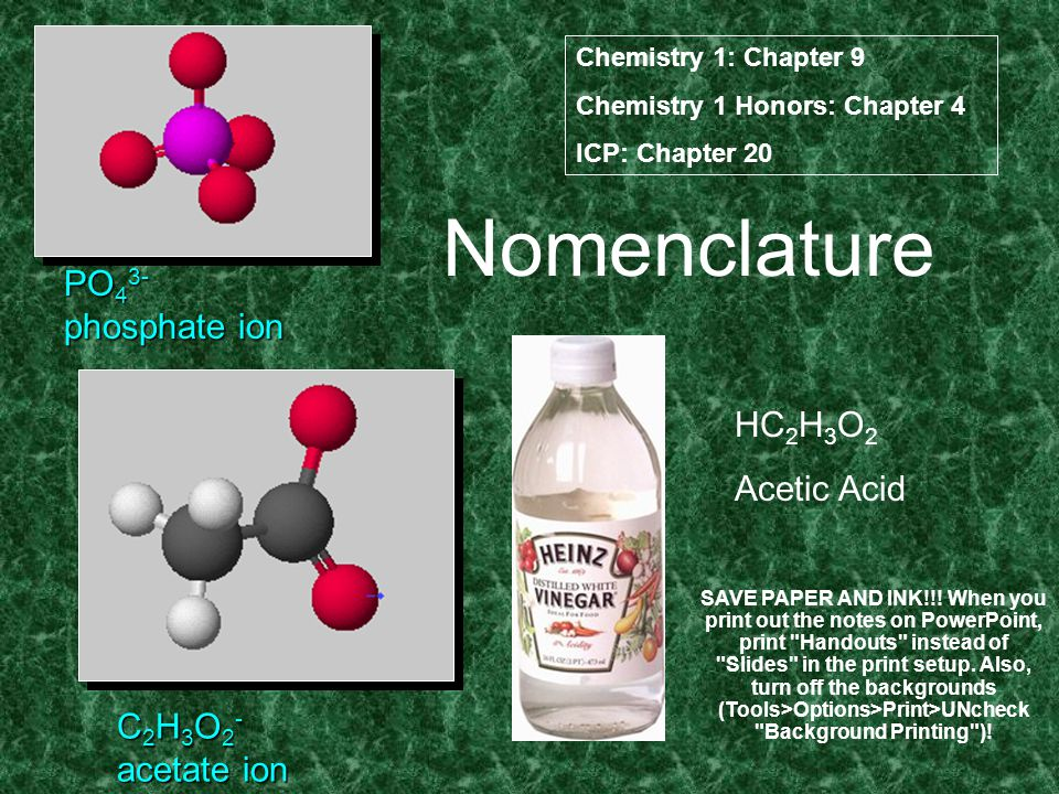 Nomenclature PO 4 3- phosphate ion C 2 H 3 O 2 - acetate ion HC 2 H 3 O 2 Acetic Acid Chemistry 1: Chapter 9 Chemistry 1 Honors: Chapter 4 ICP: Chapter 20 SAVE PAPER AND INK!!.