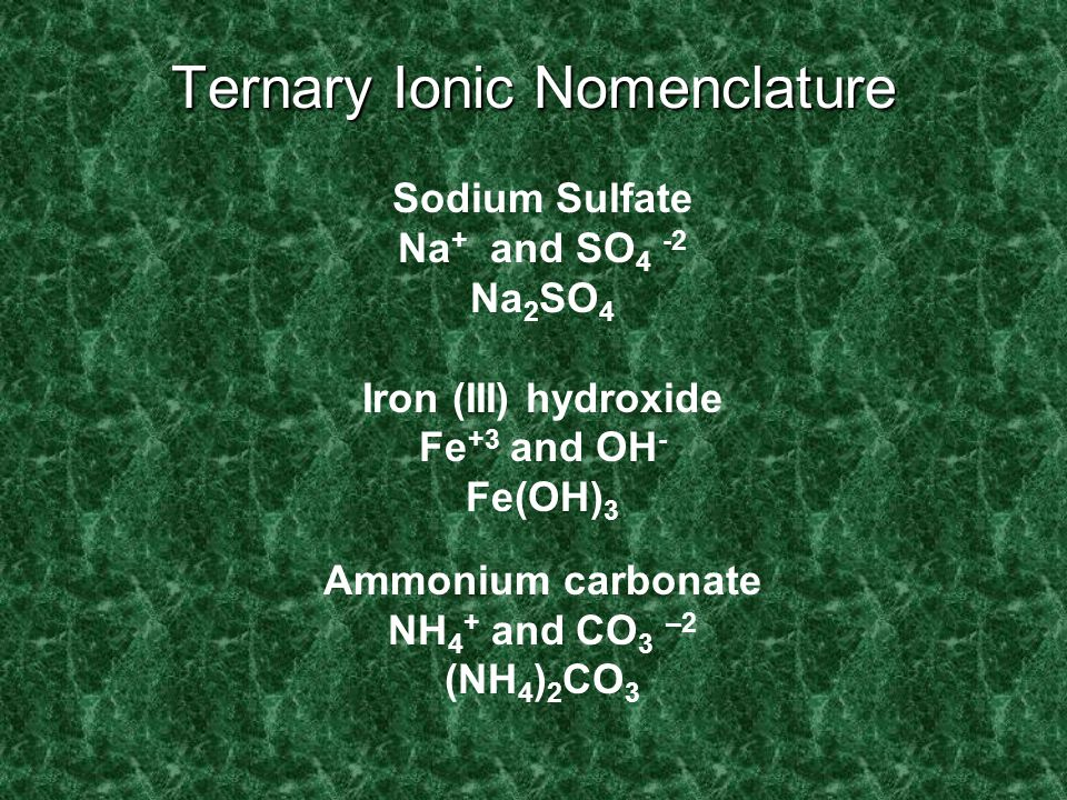 Ternary Ionic Nomenclature Writing Formulas Write each ion, cation first. Don't show charges in the final formula. Overall charge must equal zero. If