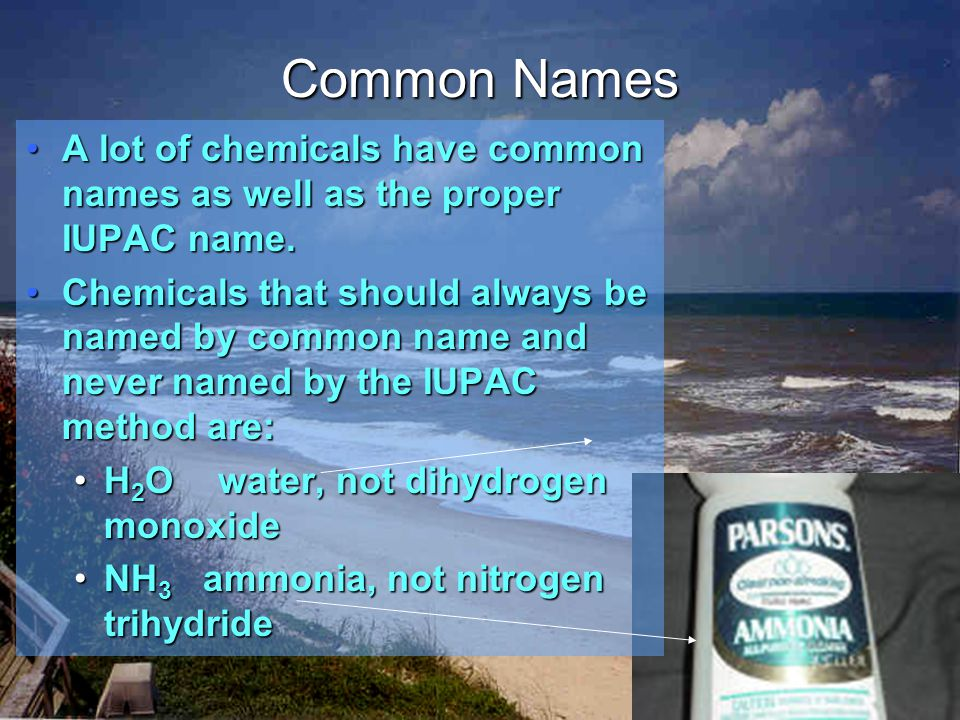 CCl 4 N 2 O SF 6 carbon tetrachloride dinitrogen monoxide sulfur hexafluoride Molecular Nomenclature: Examples