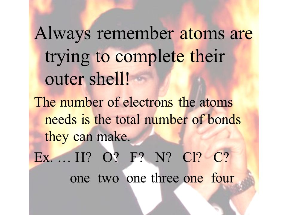 Always remember atoms are trying to complete their outer shell! The number of electrons the atoms needs is the total number of bonds they can make. Ex