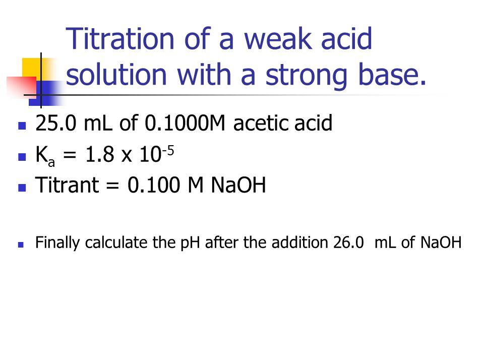 Titration of a weak acid solution with a strong base. 25.0 mL of 0.1000M acetic acid K a = 1.8 x 10 -5 Titrant = 0.100 M NaOH Finally calculate the pH