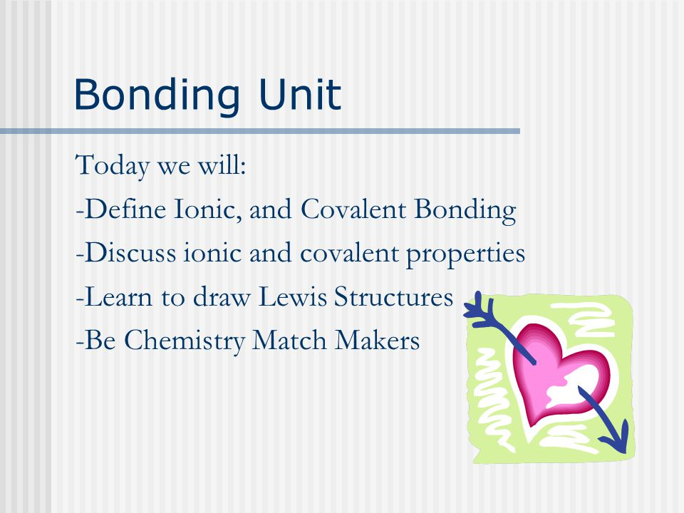 Bonding Unit Today we will: -Define Ionic, and Covalent Bonding -Discuss ionic and covalent properties -Learn to draw Lewis Structures -Be Chemistry Match Makers