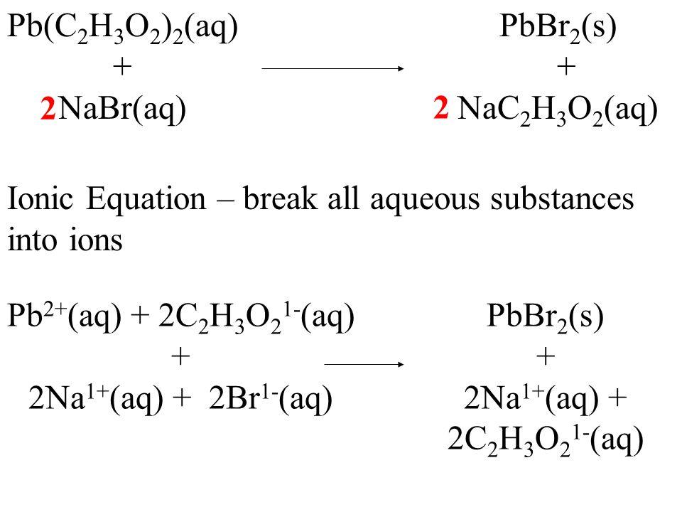 Pb(C 2 H 3 O 2 ) 2 (aq) + NaBr(aq) PbBr 2 (s) + NaC 2 H 3 O 2 (aq) 2 2 Net Ionic Equations – Cancel all spectator ions (ions common to both sides) Pb 2+ (aq) + 2C 2 H 3 O 2 1- (aq) + 2Na 1+ (aq) + 2Br 1- (aq) PbBr 2 (s) + 2Na 1+ (aq) + 2C 2 H 3 O 2 1- (aq)