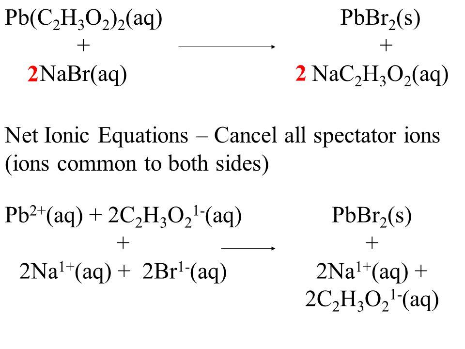 Pb(C 2 H 3 O 2 ) 2 (aq) + NaBr(aq) PbBr 2 (s) + NaC 2 H 3 O 2 (aq) 2 2 Net Ionic Equations – Cancel all spectator ions (ions common to both sides) Pb 2+ (aq) + + 2Na 1+ (aq) + 2Br 1- (aq) PbBr 2 (s) + 2Na 1+ (aq) +