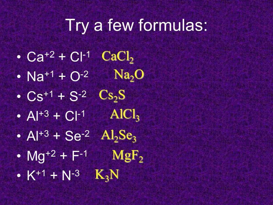 Try a few formulas: Ca +2 + Cl -1 Na +1 + O -2 Cs +1 + S -2 Al +3 + Cl -1 Al +3 + Se -2 Mg +2 + F -1 K +1 + N -3 CaCl 2 Na 2 O Cs 2 S AlCl 3 Al 2 Se 3