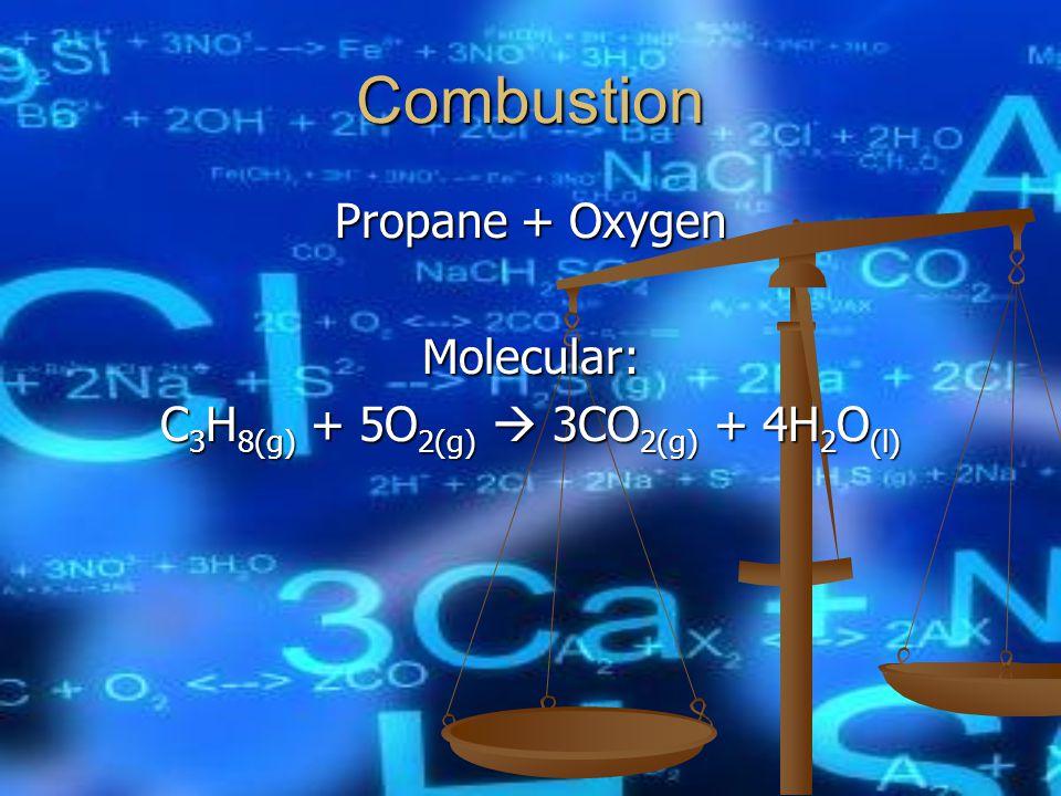 Combustion Molecular: C 3 H 8(g) + 5O 2(g)  3CO 2(g) + 4H 2 O (l)
