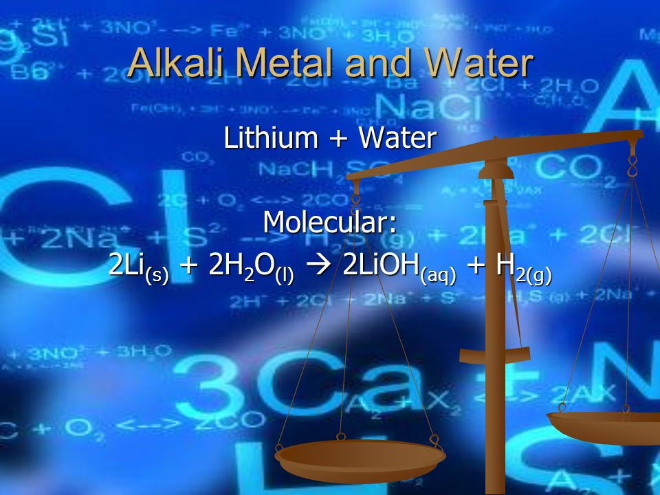 Alkali Metal and Water Lithium + Water Molecular: 2Li (s) + 2H 2 O (l)  2LiOH (aq) + H 2(g)