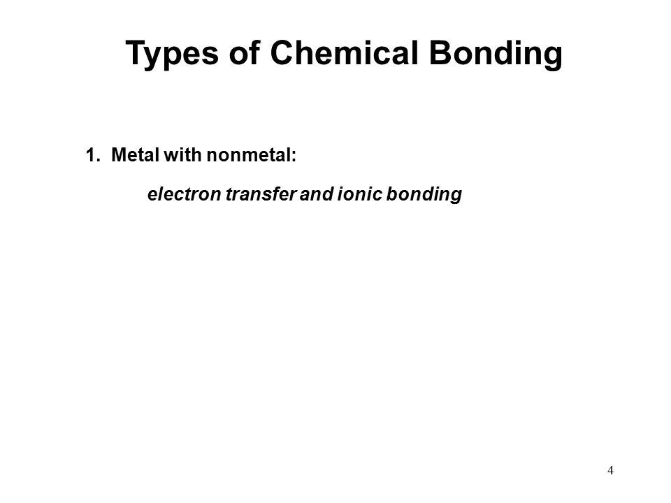 4 Types of Chemical Bonding 1. Metal with nonmetal: electron transfer and ionic bonding