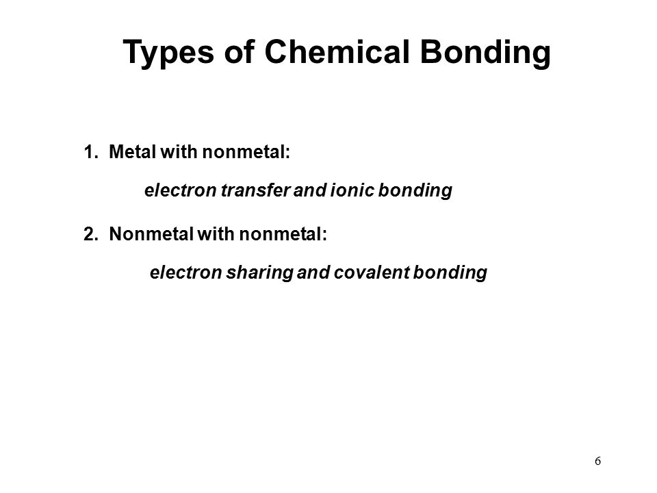 6 Types of Chemical Bonding 1. Metal with nonmetal: electron transfer and ionic bonding 2.