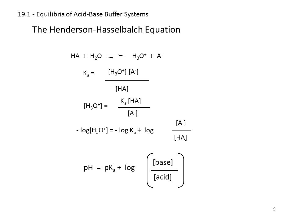 19.1 - Equilibria of Acid-Base Buffer Systems 9 The Henderson-Hasselbalch Equation HA + H 2 O H 3 O + + A - K a = [H 3 O + ] [A - ] [HA] [H 3 O + ] =