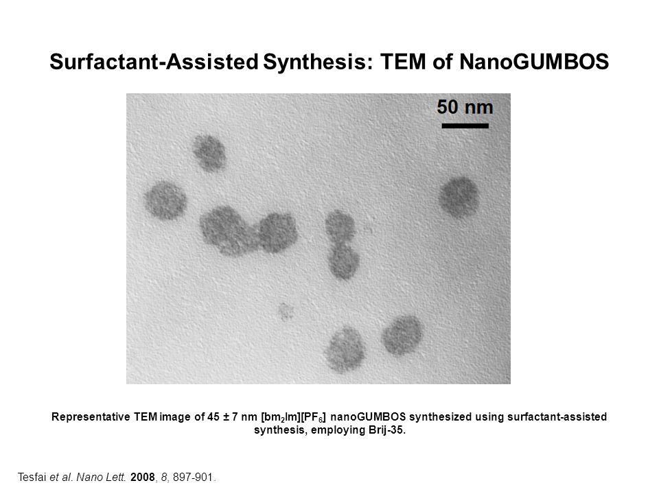 Surfactant-Assisted Synthesis: TEM of NanoGUMBOS Representative TEM image of 45 ± 7 nm [bm 2 Im][PF 6 ] nanoGUMBOS synthesized using surfactant-assist