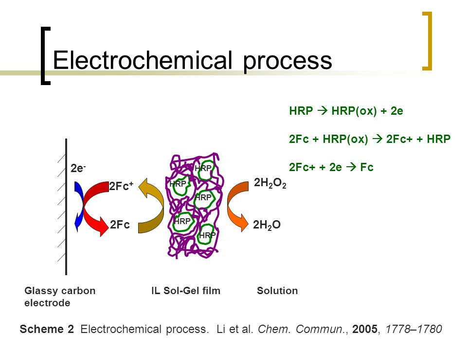 Electrochemical process 2e - 2Fc + 2Fc HRP 2H 2 O 2 2H 2 O Glassy carbon electrode IL Sol-Gel filmSolution Scheme 2 Electrochemical process.
