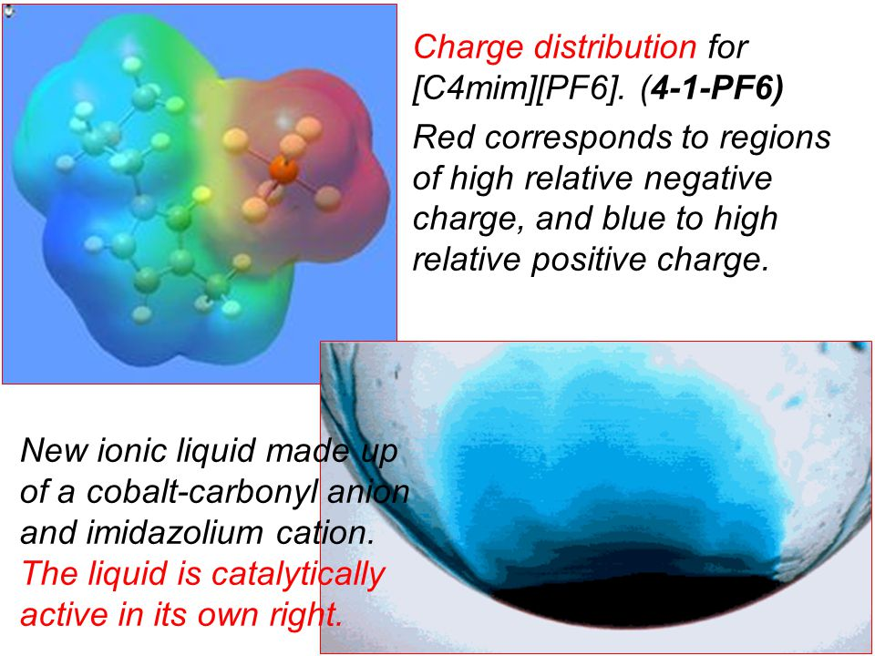 Charge distribution for [C4mim][PF6]. (4-1-PF6) Red corresponds to regions of high relative negative charge, and blue to high relative positive charge