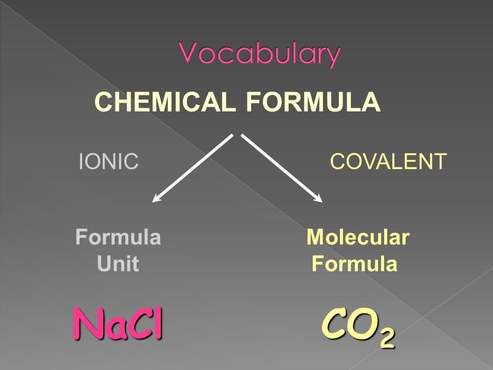 CHEMICAL FORMULA Molecular Formula Unit IONICCOVALENT CO 2 NaCl