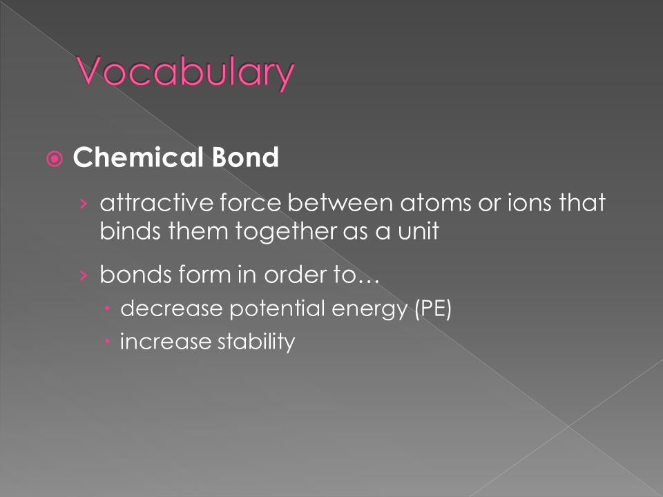  Chemical Bond › attractive force between atoms or ions that binds them together as a unit › bonds form in order to…  decrease potential energy (PE)