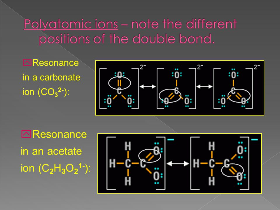 yResonance in a carbonate ion (CO 3 2- ): yResonance in an acetate ion (C 2 H 3 O 2 1- ):