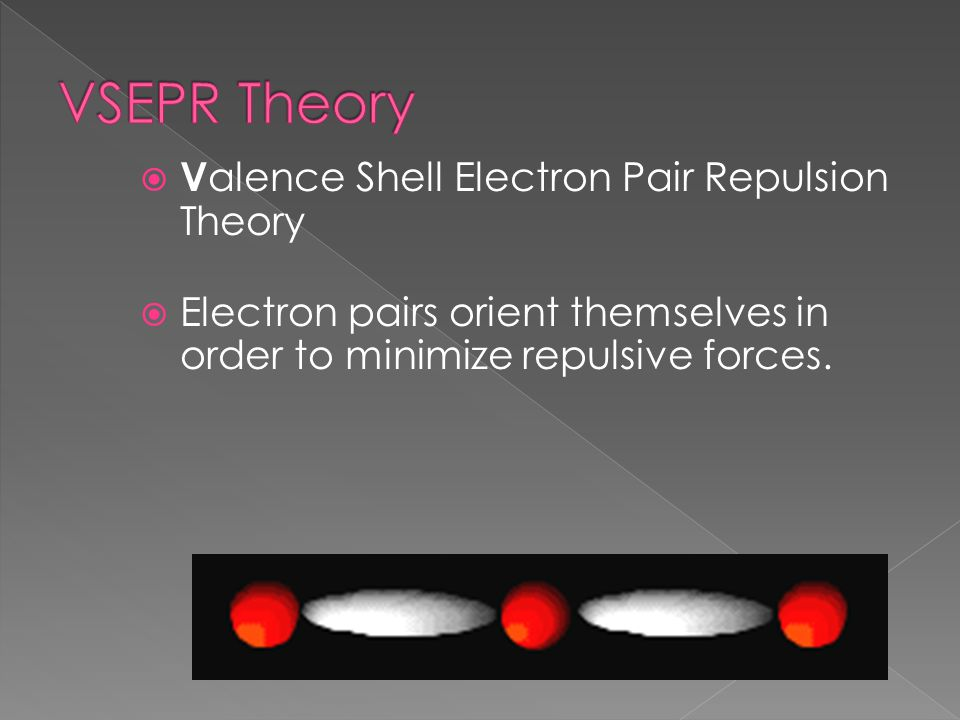  V alence Shell Electron Pair Repulsion Theory  Electron pairs orient themselves in order to minimize repulsive forces.