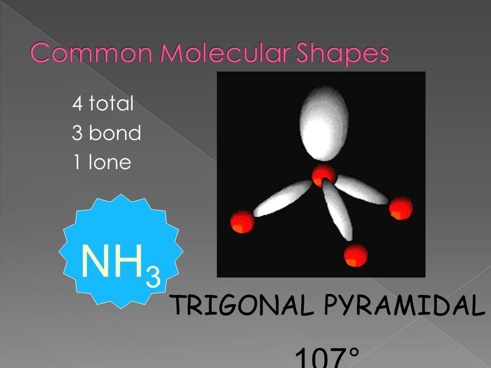 4 total 3 bond 1 lone TRIGONAL PYRAMIDAL 107° NH 3