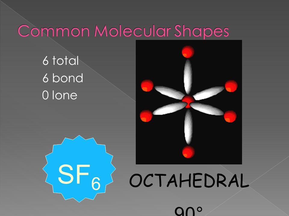 6 total 6 bond 0 lone OCTAHEDRAL 90° SF 6