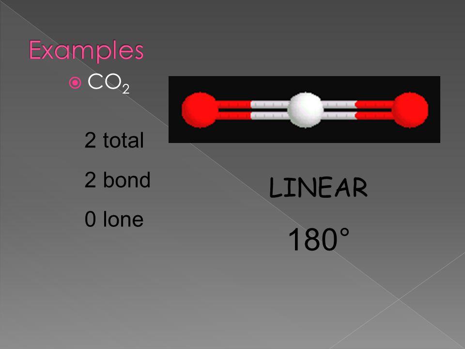  CO 2 2 total 2 bond 0 lone LINEAR 180°
