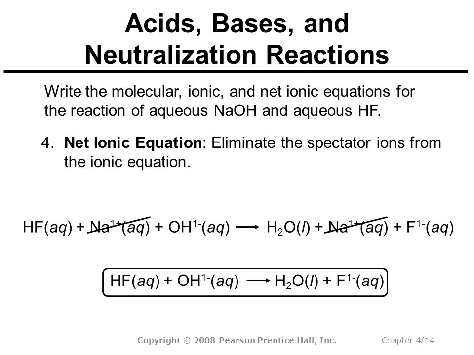 Copyright © 2008 Pearson Prentice Hall, Inc.Chapter 4/14 Acids, Bases, and Neutralization Reactions Write the molecular, ionic, and net ionic equations for the reaction of aqueous NaOH and aqueous HF.