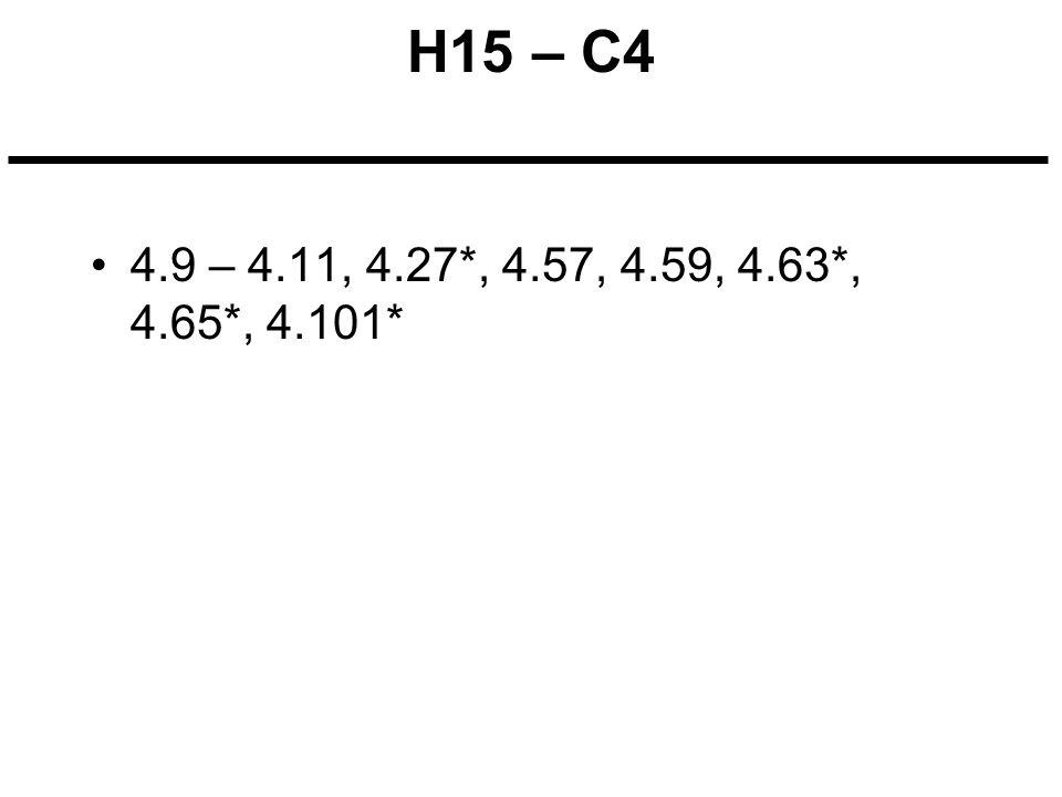 H15 – C4 4.9 – 4.11, 4.27*, 4.57, 4.59, 4.63*, 4.65*, 4.101*