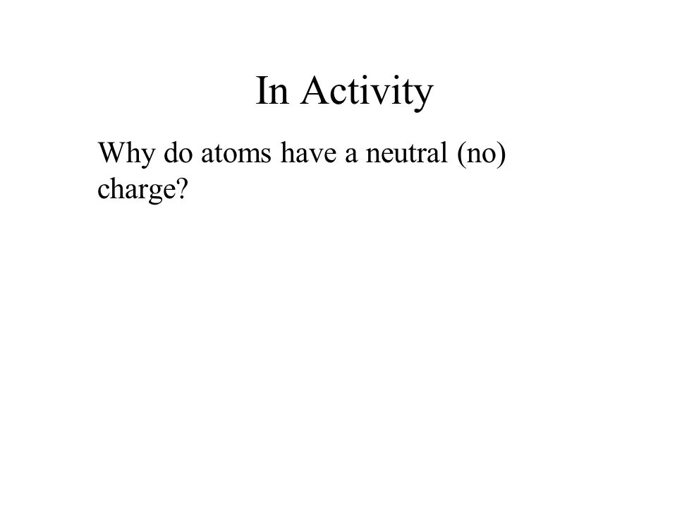 In Activity Why do atoms have a neutral (no) charge