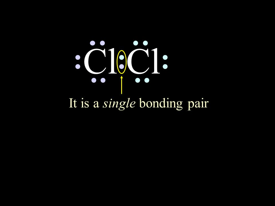 Cl circle the electrons for each atom that completes their octets It is a single bonding pair