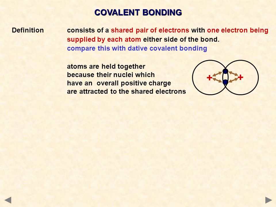 Definitionconsists of a shared pair of electrons with one electron being supplied by each atom either side of the bond. compare this with dative coval